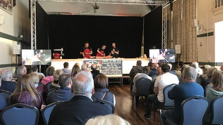 Event co-organisers, Johnny Payne, Jason Gibbons and Charlie Hodgson during the butchers demo at Ayl