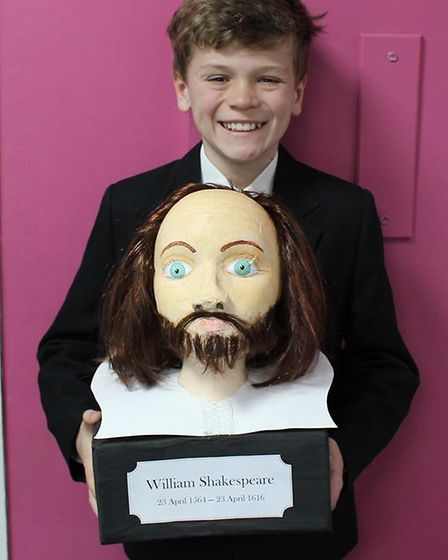Solomon in Year 7 at Caister Academy created a model bust of Shakespeare as part of his homework for