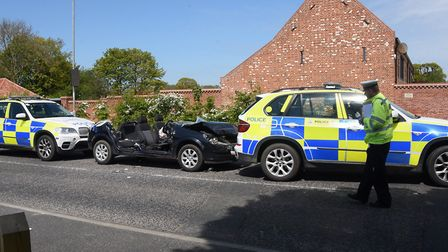 The scene of the accident involving three police vehicles at Filby where two people were injured. Pi