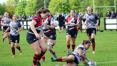 West Norfolk's Libby Lockwood scores the first of her four tries for Eastern Counties in the big win