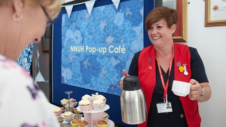 Volunteer Fiona Brown serving up teas at the pop-up cafe. Photo: NNUH