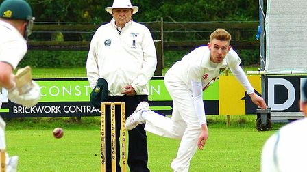 Norfolk seamer Andy Hanby in full flight for his club Great Witchingham at the weekend Picture: TIM