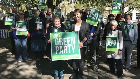 Former leader Caroline Lucas (right centre) was in Norwich to help launch the Green's European Elect