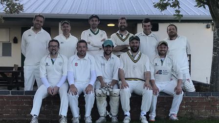 Saxlingham CC line up for a team picture. Back row (left to right): Ashley Banester, Andrew De Klerk