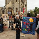 Scenes from a climate change protest by Extinction Rebellion activists before West Norfolk council's