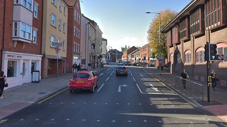 St Andrews Street in Norwich, where an altercation took place in which a man was bitten on the nose.