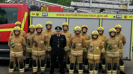 The new fire service recruits with chief fire officer Stuart Ruff. Pic: Norfolk County Council.