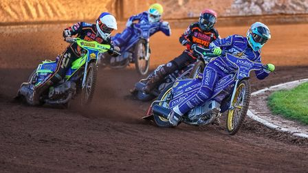 Ty Proctor on his way to victory for King's Lynn Stars at Wolverhampton Picture: STEVE FEENEY