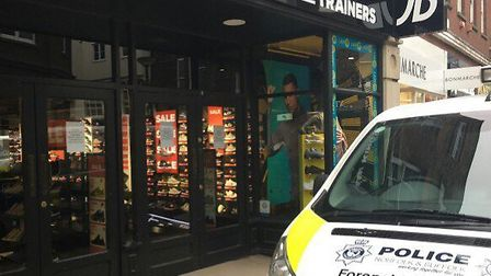 Three people have been arrested after a suspected break-in at JD Sports. Picture: King's Lynn Police
