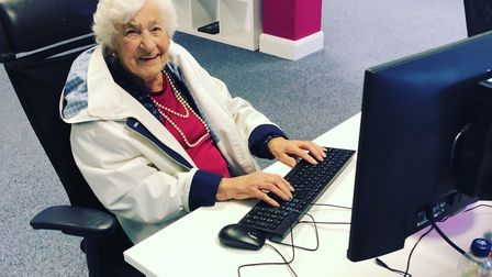 Pamela Sweeney, 88, on work experience at her grandson Nathan Lomax's Norwich-based web design compa