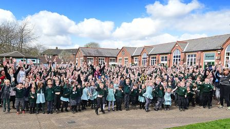 """Bignold Primary School staff and pupils celebrate their """"good"""" Ofsted result in 2016. Its managing a"""