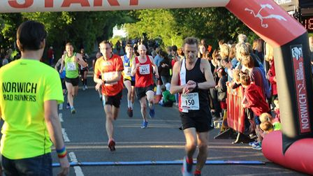 Action from the Wroxham 5K race on Wednesday night. Picture: Norwich Road Runners