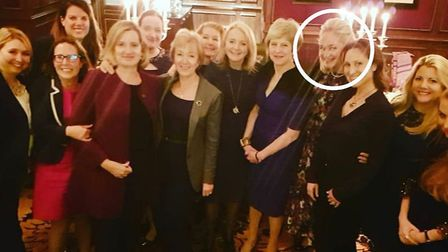 Theresa May and members of the cabinet - including Liz Truss - at the Goring Hotel, pictured with Lu