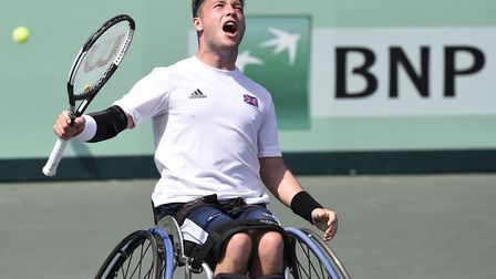 Alfie Hewett in action for GB Picture: Mathilde Dusol
