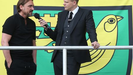 Jake Humphrey, pictured chatting to Norwich City FC manager Daniel Farke, has launched a scholarship