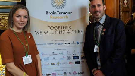 Claire and Tristan Cork, Finnbar's Force, at the Brain Tumour Research 10th anniverary. Photo: Submi