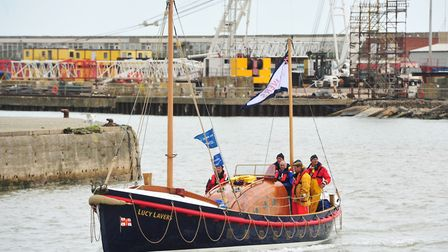Historic Lifeboat 'Lucy Lavers' arrives in Lowestoft harbour. Picture: Archant