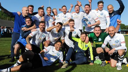 King's Lynn Town players celebrate their thrilling 'super' fiinal victory Picture: Ian Burt