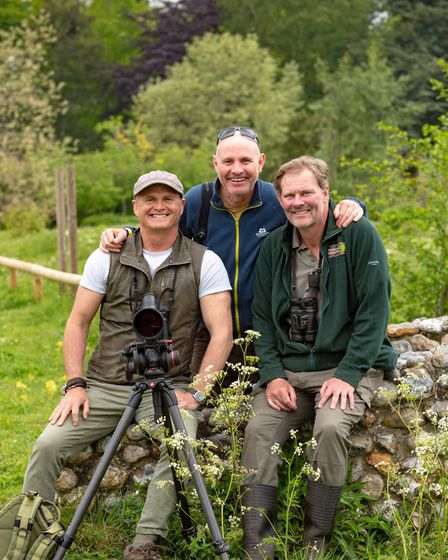 Pensthorpe Bird and Wildlife Fair 2019. MIke Dilger and Simon King with reserve manager Richard Spow