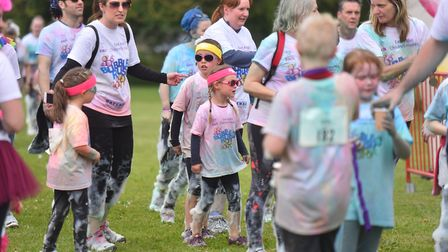 Action from the EACH 5k bubble rush Norwich, Earlham Park. PICTURE: Jamie Honeywood