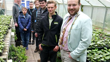 Lord Mayor Martin Schmierer visited the horticulture area at City College Norwich. Photo: Submitted