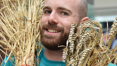 Dr Ben White, wheat research scientist at the Earlham Institute's open day at Norwich Research Park.