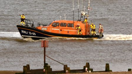 Lowestoft Lifeboat heading towards the person in the water off Pakefield. Picture: RNLI / Mick Howes