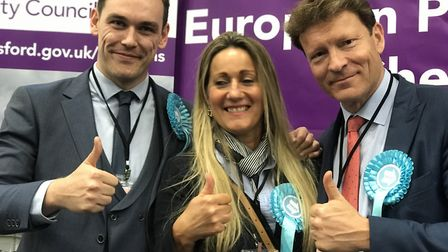 Brexit Party MEPs Michael Heaver, June Mummery, and Richard Tice. Picture: NEIL PERRY