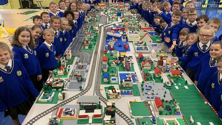 Year 3 and 4 children at Howard Junior School built a Lego city including an airport, working train,