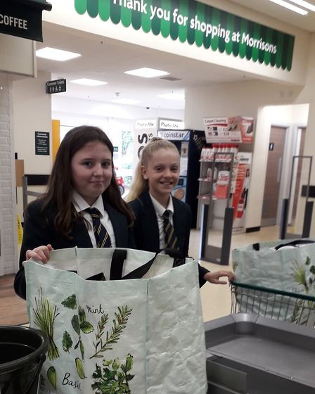 Year 6 pupils at Stradbroke Primary Academy helped shoppers to pack their bags at Morrisons in Gorle