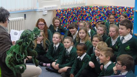Firside Junior School celebrated the opening of their refurbished and improved library with Tom Blof