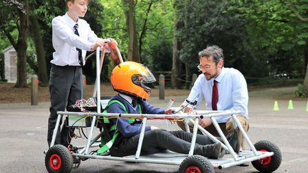 Year 6 children have been practising their driving skills in Town Close School's electric Goblin car