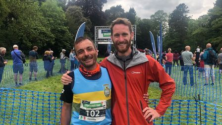 Carmine De Grandis with Norfolk Trail runner Matthew Harris, who volunteered at the event. Pictures: