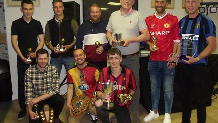 Bungay Town award winners with their trophies at the presentation evening Picture: TERRY REEVE