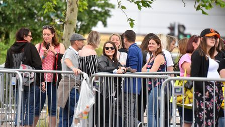 Take That fans outside Carrow Road ahead of the bands Norwich show. Picture: Jamie Honeywood