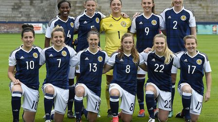 Scottish team pose for pictures before the International Challenge match at Stark's Park, Kirkcaldy.