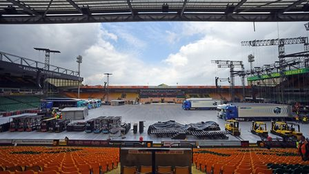 A behind the scenes look at the construction of the Take That staging at Carrow Road, Norwich. Pictu