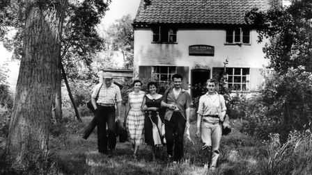 This charming photo of a quintet of happy ramblers was captured by our camera in 1958, just outside