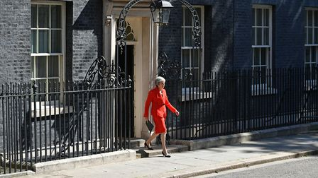 Prime Minister Theresa May making a statement outside at 10 Downing Street in London. Photo: Domini