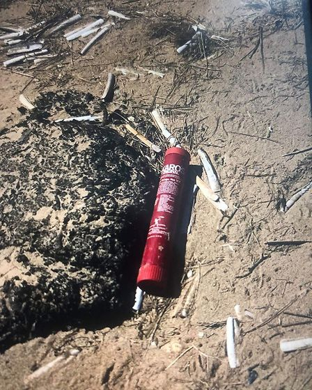 Marine flare that was recoevered on Titchwell Beach in Norfolk. Picture: Hunstanton Coastguard Rescu