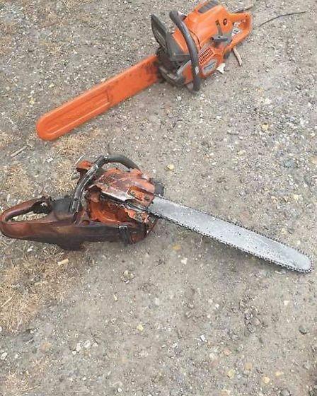 The two chainsaws which fell from the back of a truck on the A11. Photo: Elizabeth Wilson