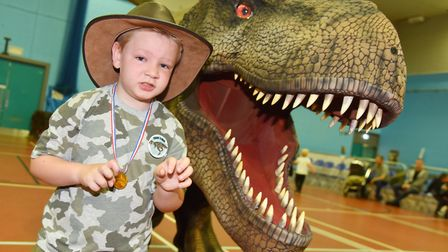 Dino Hire unveil the biggest walking T-Rex in the Uk at a special Dinosaur Training day in Lowestoft