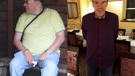 Before and after Sean Barron's weight loss. Photo: Courtesy of Slimming World