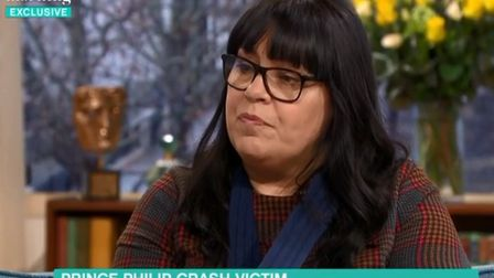 Emma Fairweather interviewed on This Morning about the being a victim in Prince Philip's crash. Phot