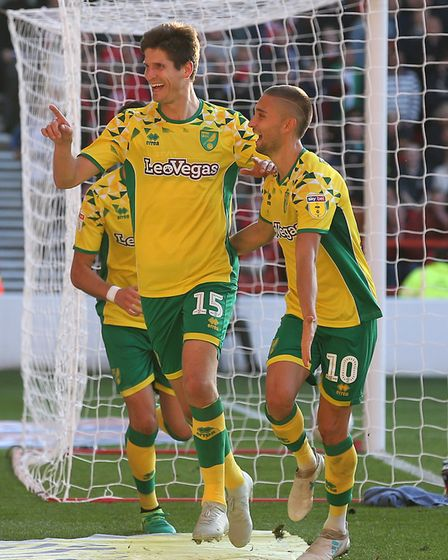 At the double - Timm Klose celebrates scoring his and City's second goal