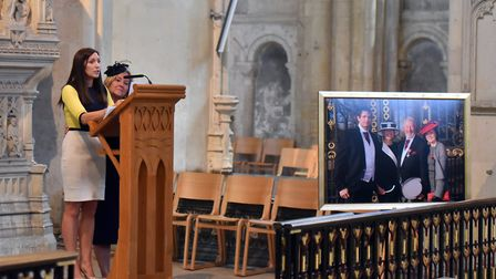 Lisa Wilson and Jo Wilson speaking at the memorial service for John Wilson MBE, Norwich Cathedral. P