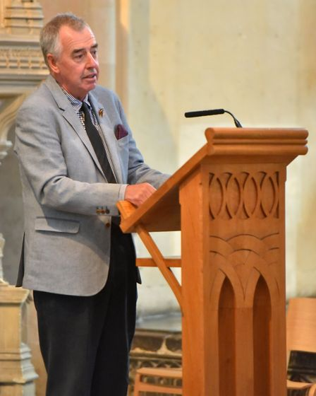 Keith Arthur speaking at the memorial service for John Wilson MBE, Norwich Cathedral. Picture: Jamie