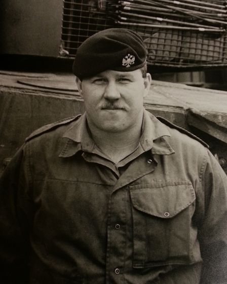Former Wisbech solider Paul Atkinson during his service with The Queen's Dragoon Guards. He now help