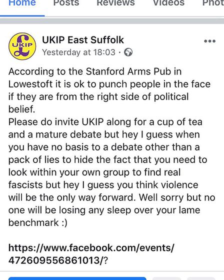 UKIP East Suffolk has lodged complaints with Suffolk Police and Facebook over an advert publicising