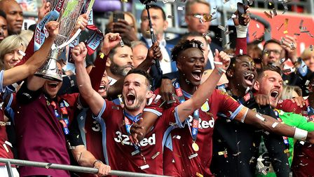 Jed Steer (pictured far right) savours Aston Villa's Championship play-off final win Picture: Mike E